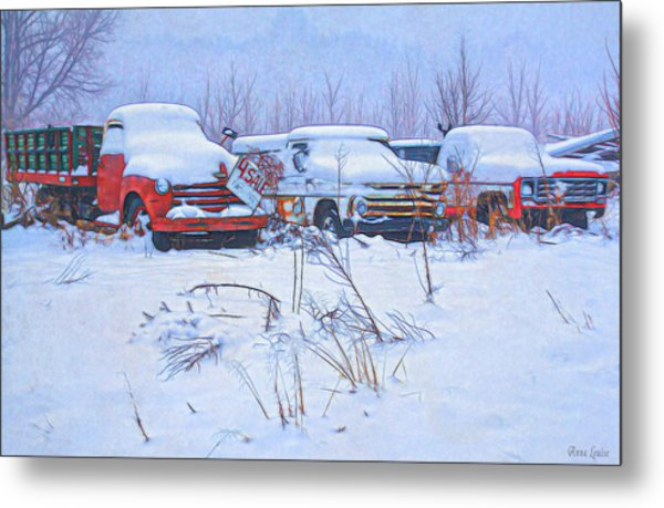 Old Trucks In Snow Metal Print
