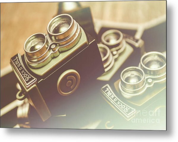 Old Vintage Faded Print Of Camera Equipment Metal Print
