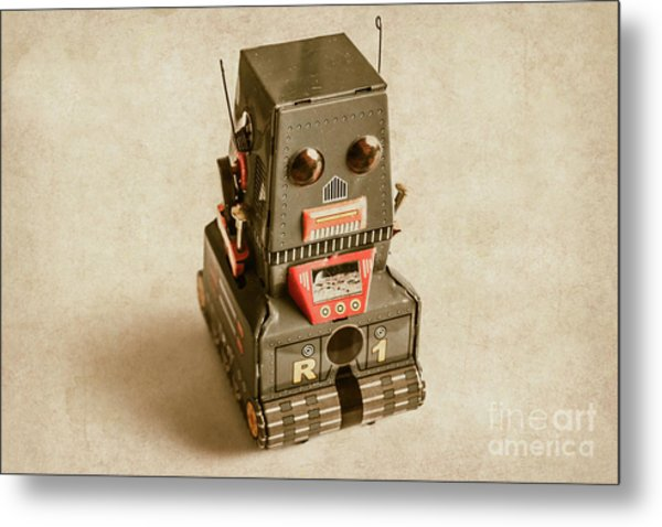Old Weathered Ai Bot Metal Print