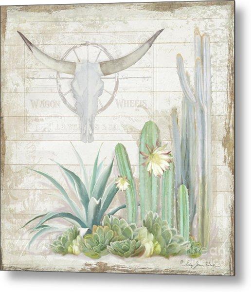 Old West Cactus Garden W Longhorn Cow Skull N Succulents Over Wood Metal Print