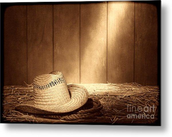Old West Farmer Hat Metal Print