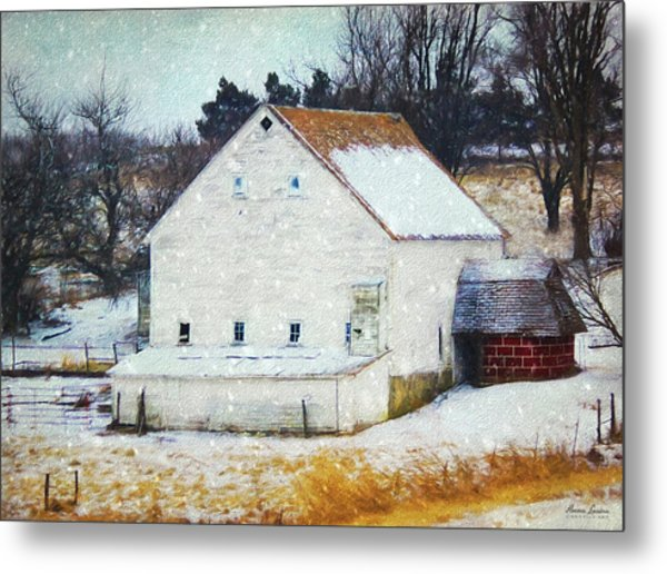 Old White Barn In Snow Metal Print