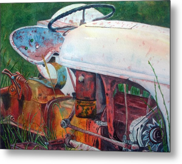Old White Tractor Out To Pasture Metal Print by Rosie Phillips