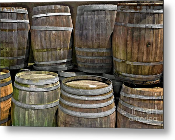 Old Wine Barrels Metal Print