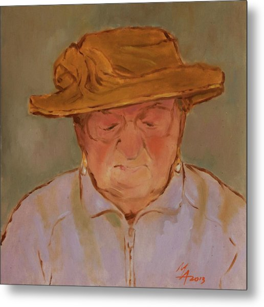 Old Woman With Yellow Hat Metal Print
