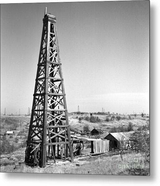 Old Wooden Derrick Metal Print