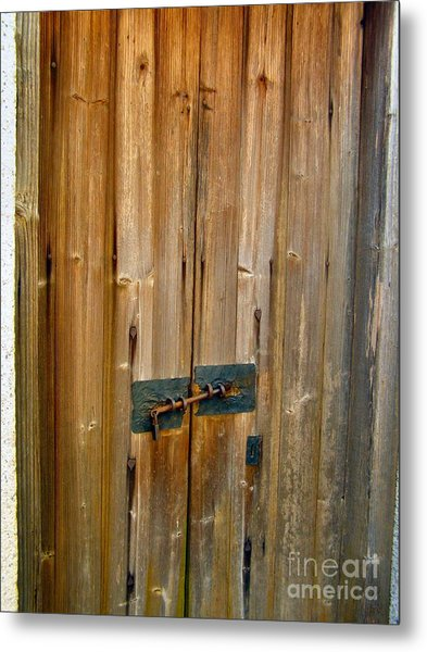 Old Wooden Door Chinese Village Hong Kong Two Metal Print by Kathy Daxon