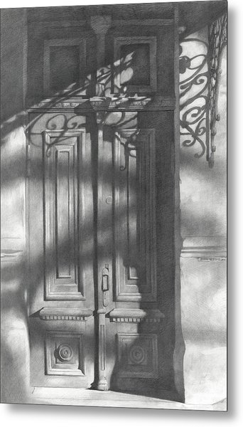 Metal Print featuring the drawing Old Wooden Door  by Denis Chernov