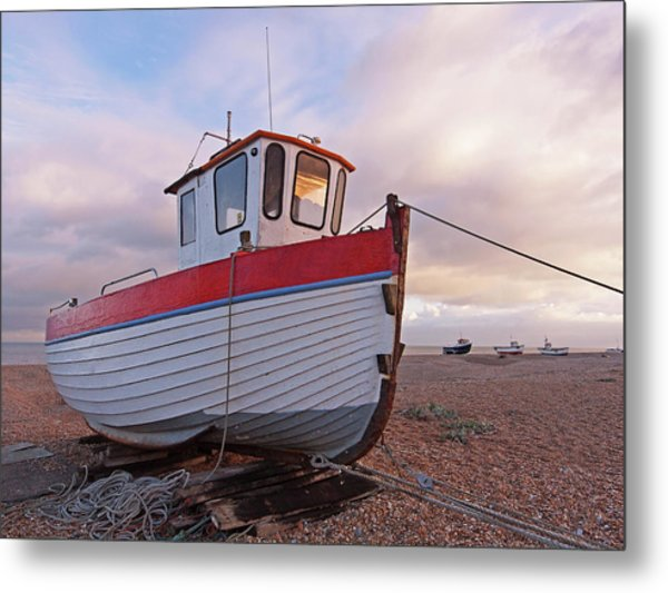 Old Wooden Fishing Boat Home By Sunset Metal Print