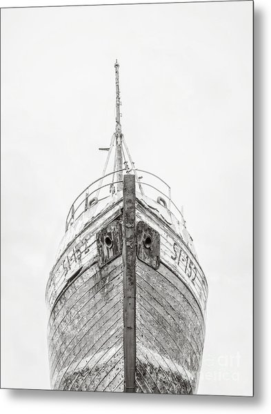 Old Wooden Fishing Boat In The Fog Iceland Metal Print