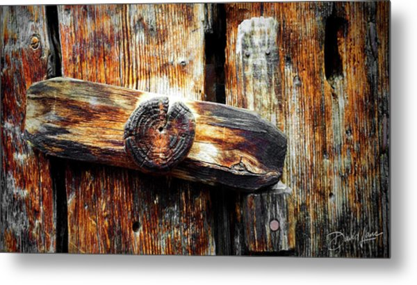 Old Wooden Latch Metal Print