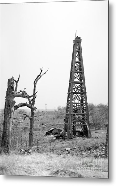 Old Wooden Oil Derrick Metal Print