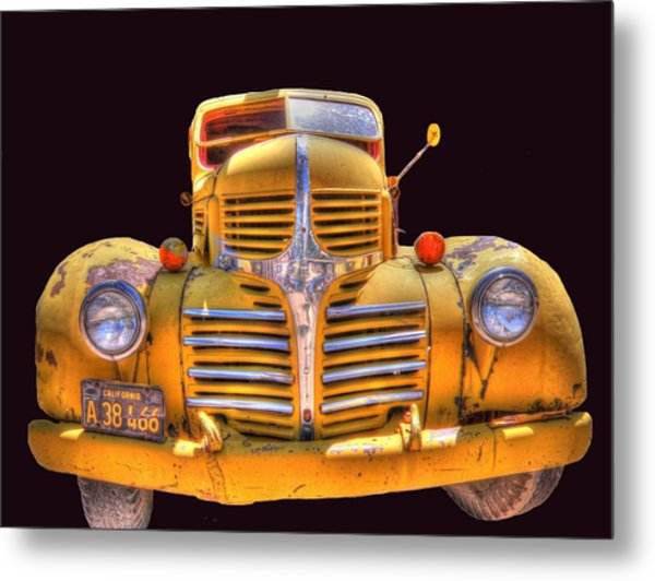 Old Yellow Dodge Metal Print by Peter Schumacher
