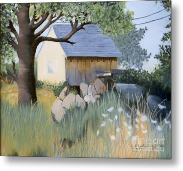 Old Yellow Shed Metal Print by Emily Michaud