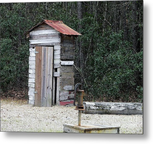 Oldtime Outhouse - Digital Art Metal Print