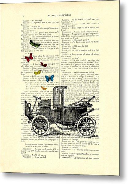 Oldtimer And Butterflies Metal Print