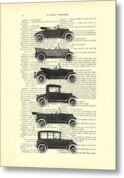 Collection Oldtimers In Black And White Vintage Illustration Metal Print