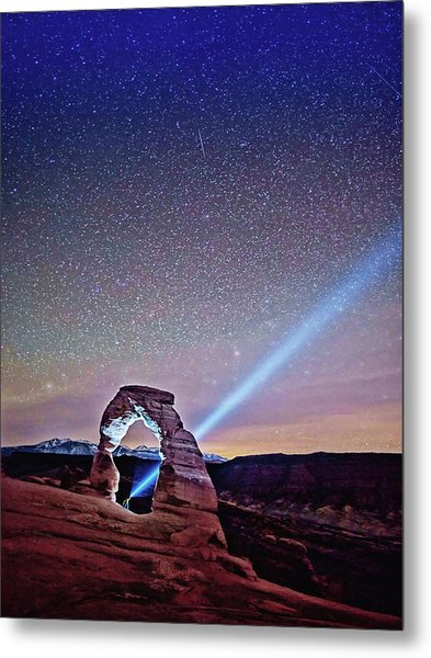 Olena Art Starry Night Pointer At Delicate Arch Moab National Park Metal Print