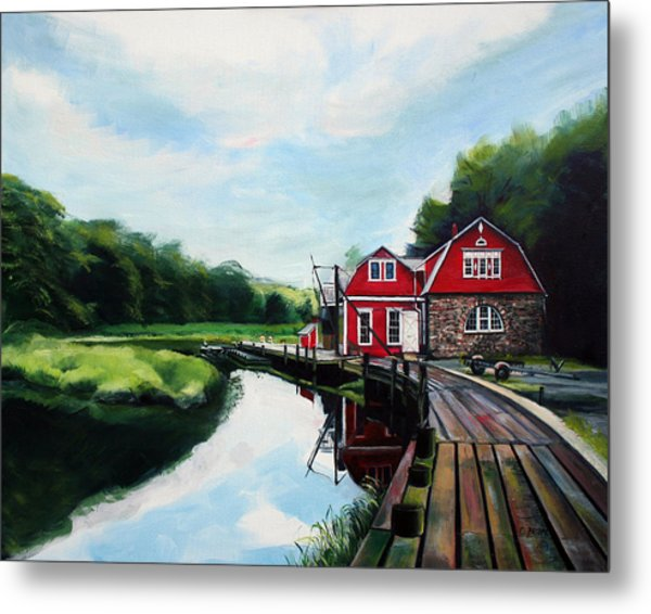 Ole's Boathouse In Riverside Connecticut Metal Print by Colleen Proppe