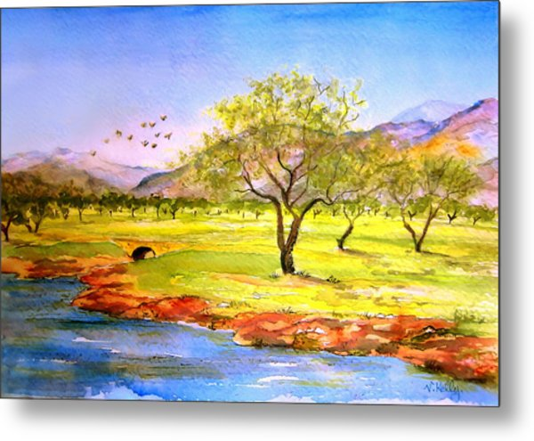 Metal Print featuring the painting Olive Grove by Valerie Anne Kelly