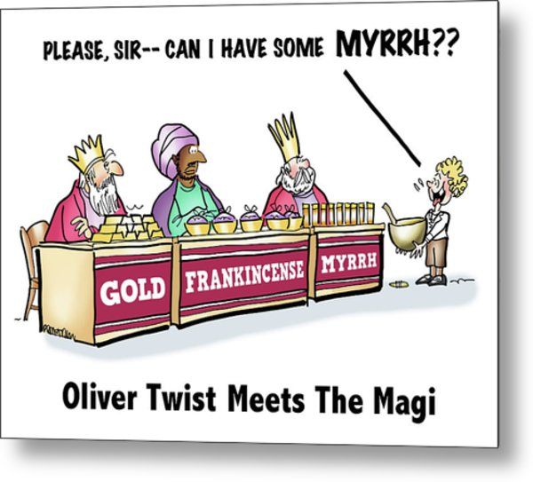 Metal Print featuring the digital art Oliver Wants Some Myrrh by Mark Armstrong