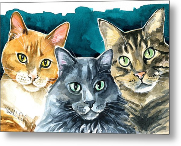 Oliver, Willow And Walter - Cat Painting Metal Print
