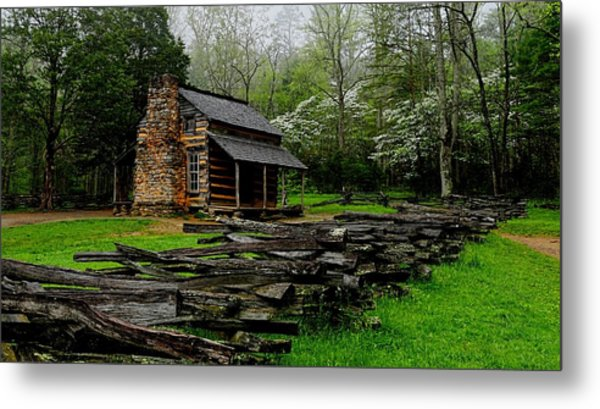 Oliver's Cabin Among The Dogwood Of The Great Smoky Mountains National Park Metal Print