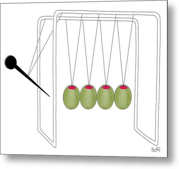 Olives And Toothpick On Newtons Cradle Metal Print
