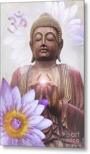 Om Mani Padme Hum - Buddha Lotus Metal Print
