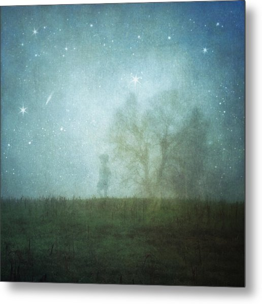 On A Starry Night, A Boy And His Tree Metal Print