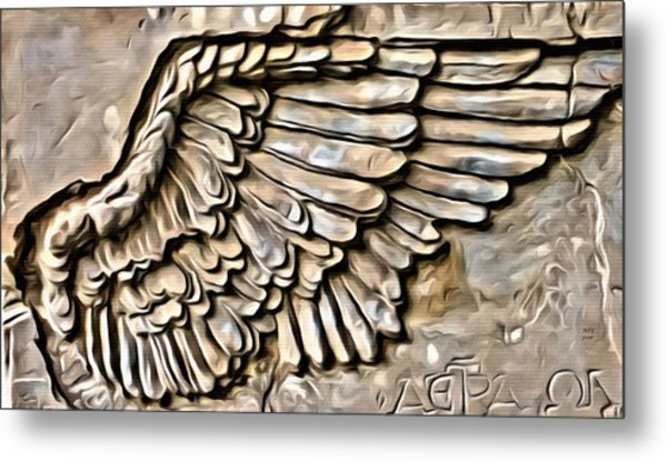 On Angels Wings Metal Print