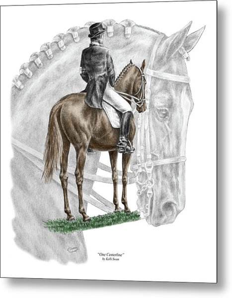 On Centerline - Dressage Horse Print Color Tinted Metal Print