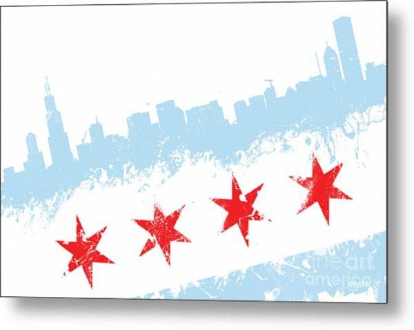 Chicago Flag Lean Metal Print