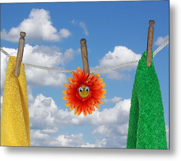 On Line Metal Print by Maria Dryfhout