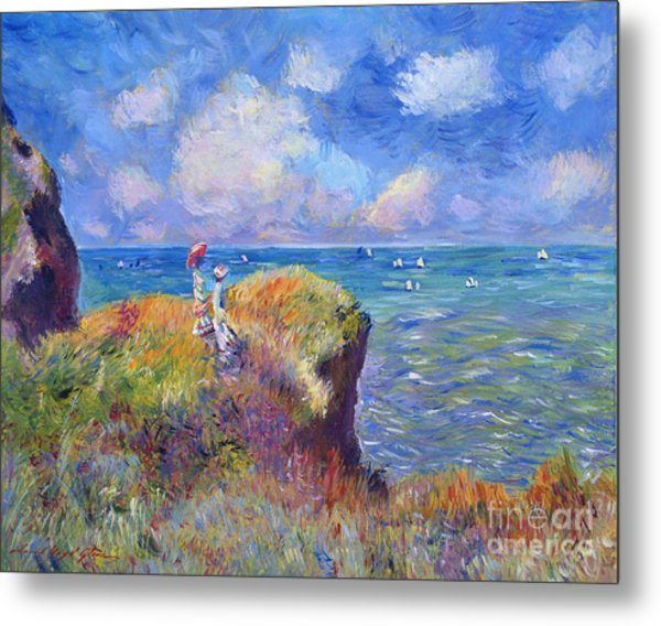 On The Bluff At Pourville - Sur Les Traces De Monet Metal Print by David Lloyd Glover