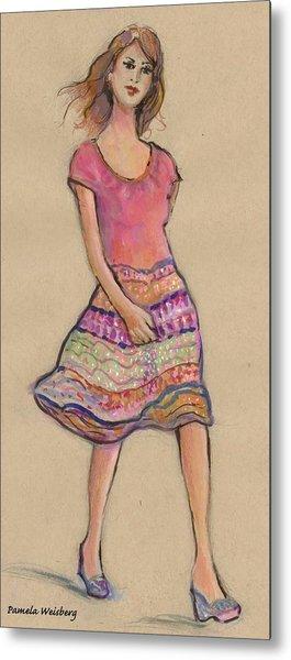On The Go Fashion Illustration Metal Print