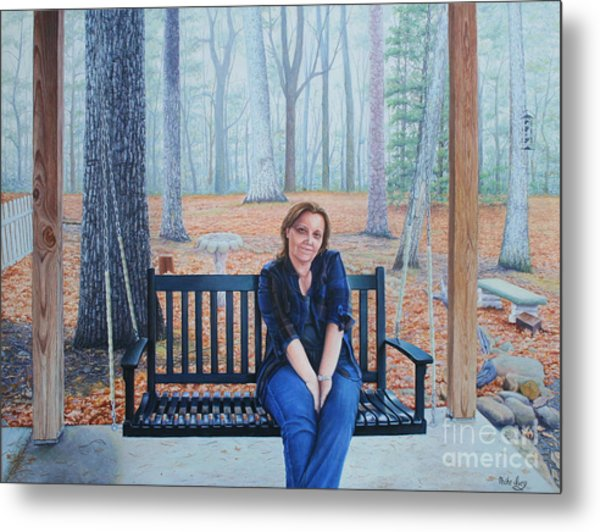 Metal Print featuring the painting On The Porch Swing by Mike Ivey