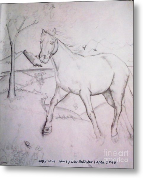 On The Ridge Sketch Metal Print by Jamey Balester