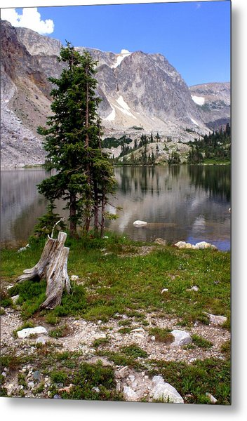 On The Snowy Mountain Loop Metal Print