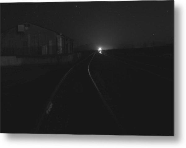 On The Tracks At Night Metal Print