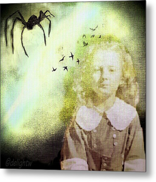 Metal Print featuring the digital art Once There Was A Spider by Delight Worthyn