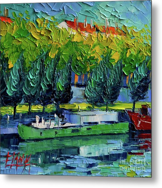 One Barge On The Rhone River - Impasto Palette Knife Oil Painting Metal Print