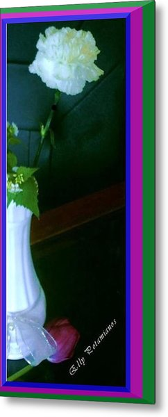 One Carnation And One Rose Bud Metal Print
