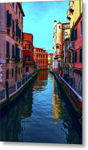 one of the many beautiful old Venetian canals on a Sunny summer day Metal Print