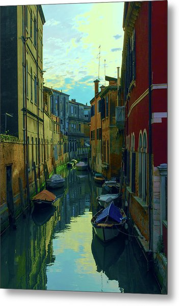 one of the many Venetian canals at the end of a Sunny summer day Metal Print