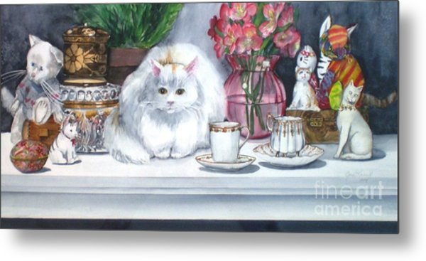 One Real Cat And Several Faux Kitties Metal Print
