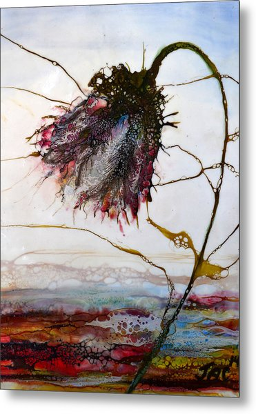 One Red Blossom Metal Print