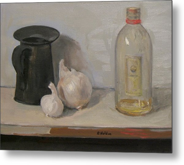 Onion And Garlic,tin Can, And Painting Medium Bottle Metal Print