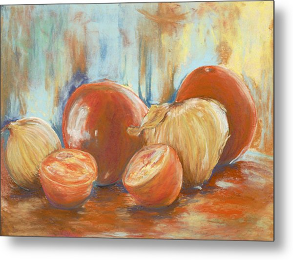 Onions And Tomatoes Metal Print
