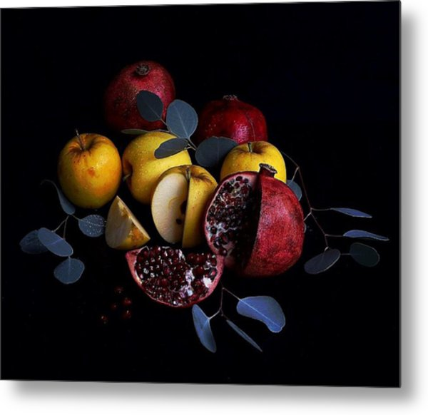 Opal Apples And Pomegranates Metal Print